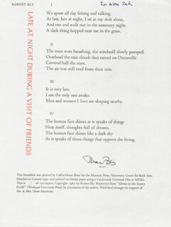 ROBERT BLY - INSCRIBED POEM SIGNED