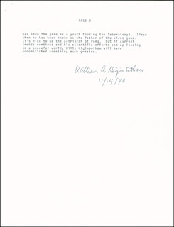 Autographs: WILLIAM A. HIGINBOTHAM - TYPESCRIPT SIGNED 11/14/1990
