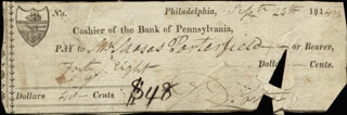 COMMODORE DAVID PORTER - AUTOGRAPHED SIGNED CHECK 09/24/1814
