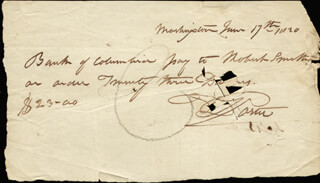 Autographs: COMMODORE DAVID PORTER - AUTOGRAPH CHECK SIGNED 06/17/1820