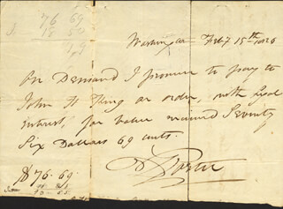 Autographs: COMMODORE DAVID PORTER - AUTOGRAPH PROMISSORY NOTE SIGNED 02/07/1826