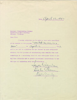 Autographs: GENERAL LEWIS B. OLDEST SOLDIER HERSHEY - DOCUMENT SIGNED 04/12/1942