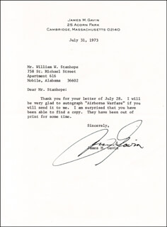 LT. GENERAL JAMES M. GAVIN - TYPED LETTER SIGNED 07/31/1973