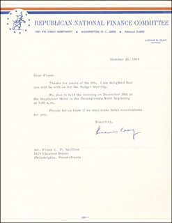 GENERAL LUCIUS D. CLAY - TYPED LETTER SIGNED 10/26/1965