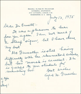 GENERAL ALFRED M. GRUENTHER - AUTOGRAPH LETTER SIGNED 07/12/1975