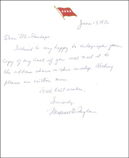 Autographs: GENERAL MAXWELL D. TAYLOR - AUTOGRAPH NOTE SIGNED 06/17/1972