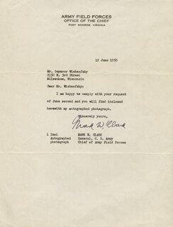 Autographs: GENERAL MARK W. CLARK - TYPED LETTER SIGNED 06/12/1950