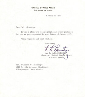 GENERAL LYMAN L. LEMNITZER - TYPED LETTER SIGNED 01/03/1960