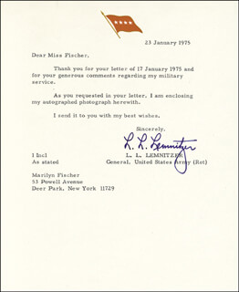 GENERAL LYMAN L. LEMNITZER - TYPED LETTER SIGNED 01/23/1975