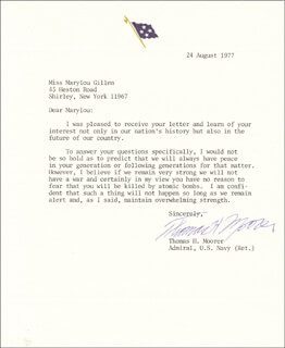 ADMIRAL THOMAS H. MOORER - TYPED LETTER SIGNED 08/24/1977