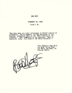 BOB HOPE - TYPESCRIPT SIGNED