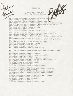 Autographs: BOB HOPE - TYPED LYRIC(S) SIGNED CO-SIGNED BY: VERA MILES