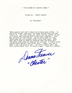 Autographs: DENNIS WEAVER - TYPESCRIPT SIGNED