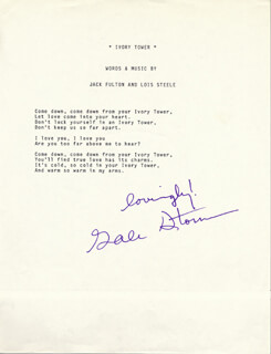 GALE STORM - TYPED LYRIC(S) SIGNED