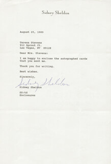 SIDNEY SHELDON - TYPED LETTER SIGNED 08/25/1989