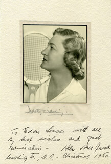 HELEN HULL JACOBS - INSCRIBED PHOTOGRAPH MOUNT SIGNED 12/1950 CO-SIGNED BY: DOROTHY WILDING