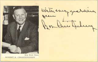 ROBERT K. BOB CHRISTENBERRY - AUTOGRAPH SENTIMENT SIGNED