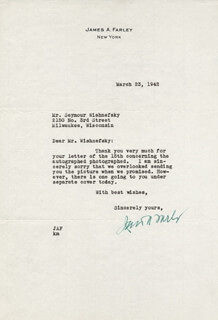 Autographs: JAMES A. FARLEY - TYPED LETTER SIGNED 03/23/1942