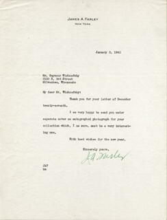 JAMES A. FARLEY - TYPED LETTER SIGNED 01/02/1942