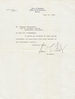 GOVERNOR SAM C. FORD - TYPED LETTER SIGNED 07/16/1941
