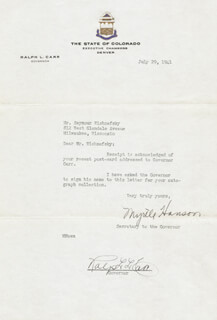 Autographs: RALPH L. CARR - TYPED NOTE SIGNED 07/29/1941