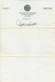 GOVERNOR NELS H. SMITH - AUTOGRAPH