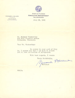 Autographs: SPESSARD L. HOLLAND - TYPED NOTE SIGNED 07/22/1941