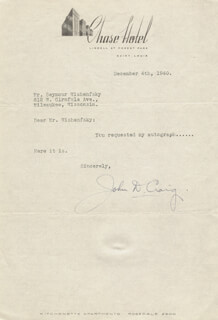 Autographs: MAJOR GENERAL JOHN D. CRAIG - TYPED NOTE SIGNED 12/04/1940