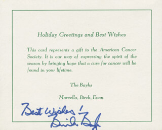 BIRCH BAYH - CHRISTMAS / HOLIDAY CARD SIGNED