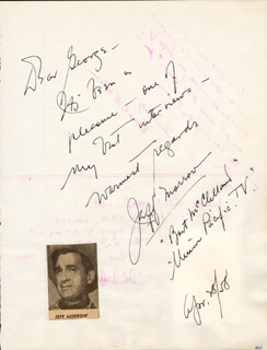 JEFF MORROW - AUTOGRAPH NOTE SIGNED 04/28/1958 CO-SIGNED BY: BOOTS LEBARON