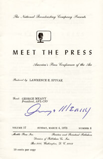 Autographs: GEORGE MEANY - PROGRAM SIGNED CIRCA 1973