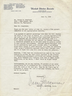 WARREN G. MAGNUSON - TYPED LETTER SIGNED 06/14/1949