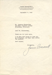 JAMES ROOSEVELT - TYPED LETTER SIGNED 09/06/1940