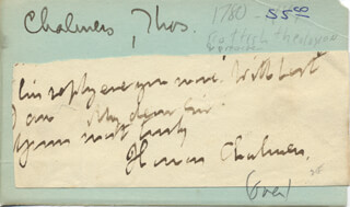Autographs: THOMAS CHALMERS - AUTOGRAPH SENTIMENT SIGNED