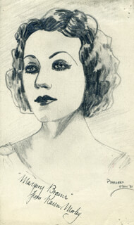 Autographs: KAREN MORLEY - INSCRIBED ORIGINAL ART SIGNED CIRCA 1931 CO-SIGNED BY: MARGERY (MARGERY BRAINE) MAY
