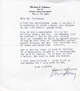 HARRISON E. SALISBURY - TYPED LETTER SIGNED 04/20/1991