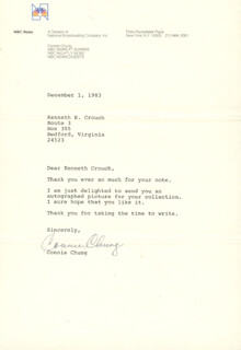 CONNIE CHUNG - TYPED LETTER SIGNED 12/01/1983