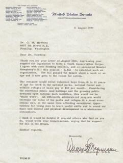 WARREN G. MAGNUSON - TYPED LETTER SIGNED 08/31/1959