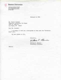 WILLIAM V. SHANNON - TYPED LETTER SIGNED 02/08/1982