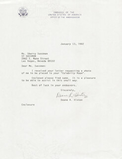 DEANE R. HINTON - TYPED NOTE SIGNED 01/13/1982