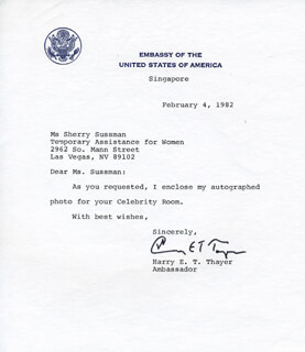 HARRY E.T. THAYER - TYPED NOTE SIGNED 02/04/1982