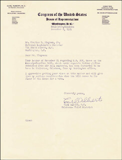 Autographs: CARL B. ALBERT - TYPED LETTER SIGNED 12/08/1951