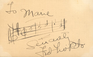 TED FIO RITO - INSCRIBED AUTOGRAPH MUSICAL QUOTATION SIGNED