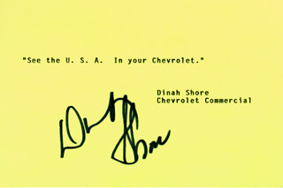 DINAH SHORE - TYPED QUOTATION SIGNED