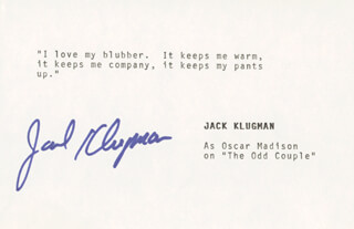 JACK KLUGMAN - TYPED QUOTATION SIGNED