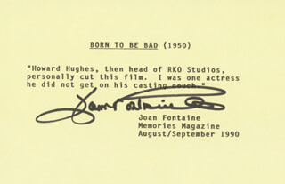JOAN FONTAINE - TYPED QUOTATION SIGNED