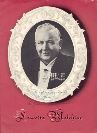 LAURITZ MELCHIOR - INSCRIBED PROGRAM SIGNED