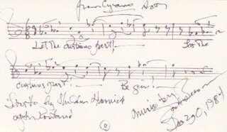 JACK BEESON - AUTOGRAPH MUSICAL QUOTATION SIGNED 12/30/1984