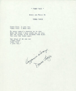 DONNA FARGO - TYPED LYRIC(S) SIGNED