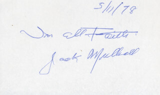 JACK MULHALL - AUTOGRAPH SENTIMENT SIGNED 05/11/1978